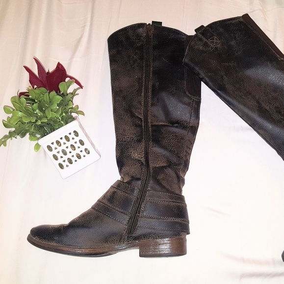 Distressed Riding Boots